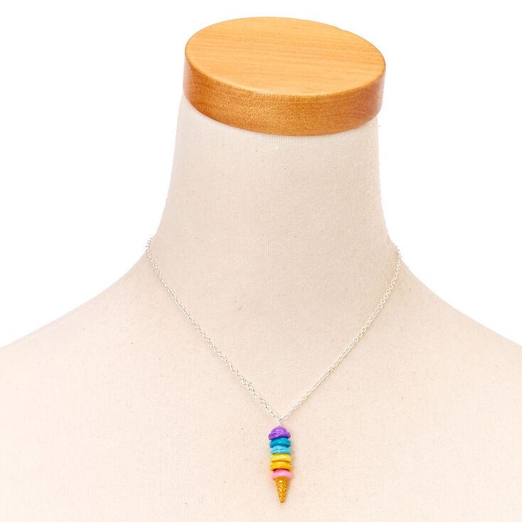 Collier à pendentif cornet de glace arc-en-ciel,