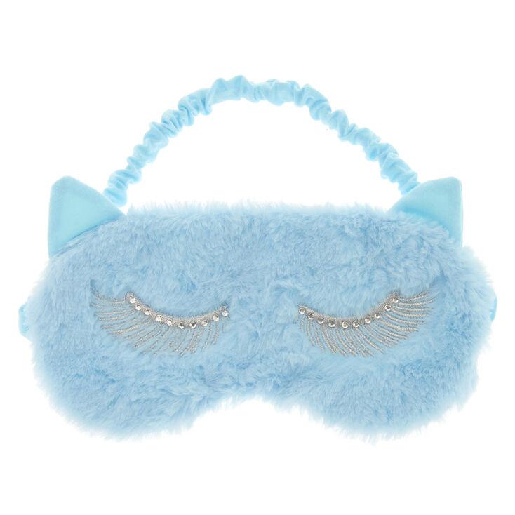 Masque de sommeil à oreilles de chat bleu pastel,