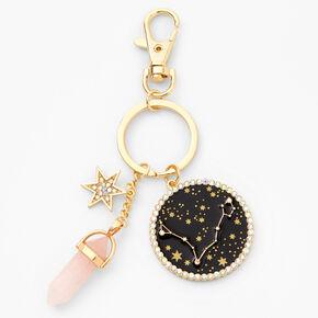 Gold Healing Crystal Zodiac Keyring - Pisces,