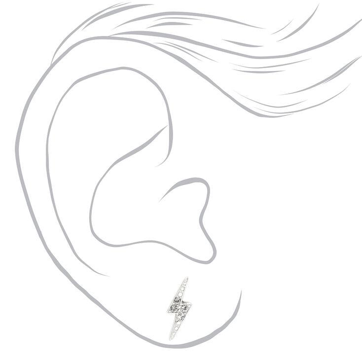 Clous d'oreilles éclair avec strass couleur argentée,