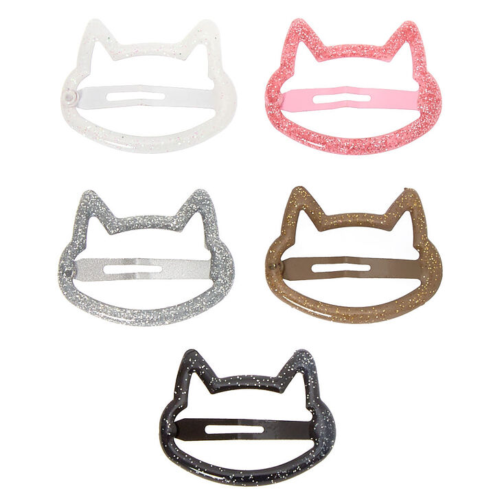 Claire's Club Glitter Cat Snap Hair Clips - 5 Pack,