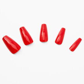 Faux ongles squareletto rouges brillants - Lot de 24,