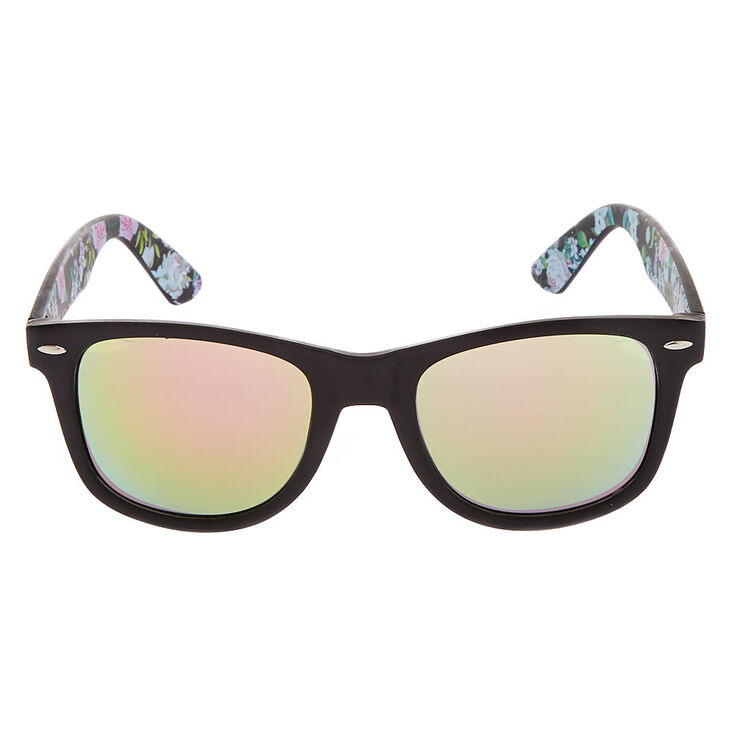 Floral Retro Sunglasses - Black,