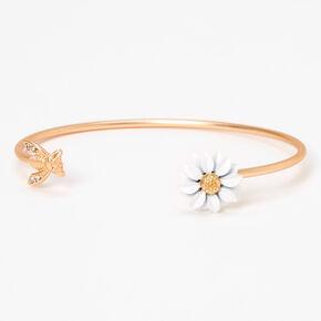 Gold Daisy & Bumblebee Thin Cuff Bracelet,