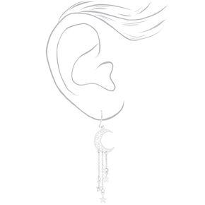 """Silver 2"""" Moon Star Drop Earrings,"""