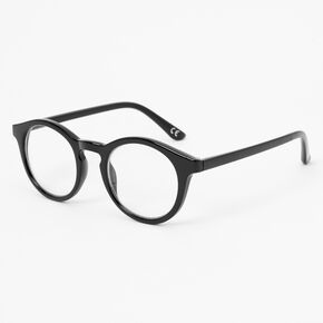 Round Briggs Clear Lens Frames - Black,