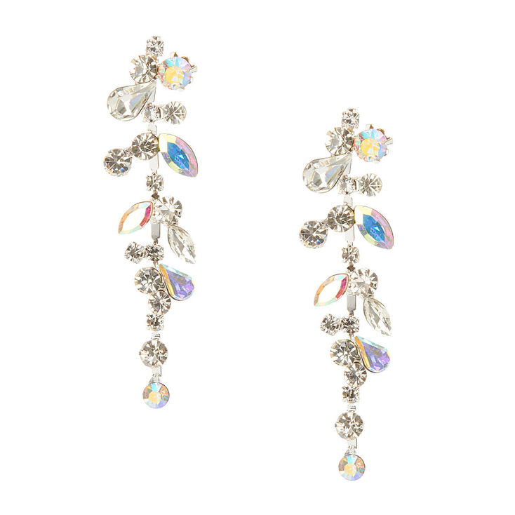 74e2fd24e Clustered Clear & Aurora Borealis Crystals & Stones Drop Earrings,