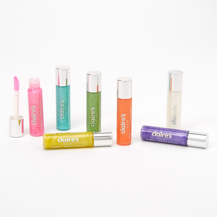 Claire's Club Rainbow Glitter Lip Gloss Set - 7 Pack,