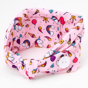 Claire's Club Unicorn and Ice Cream Button Headwrap - Pink,