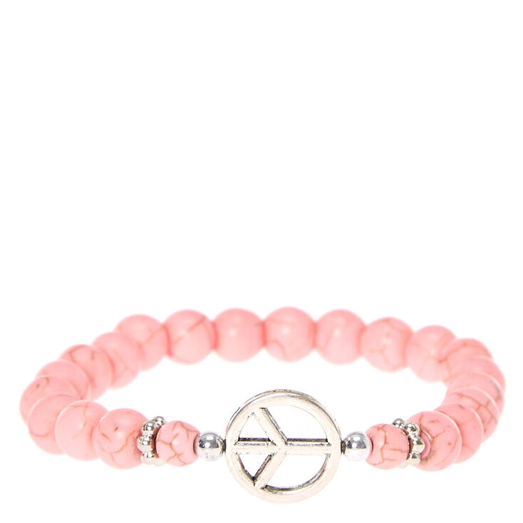 Light Pink Marbled Beads With Peace Sign Charm Bracelet