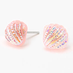 Iridescent Shell Stud Earrings - Pink,