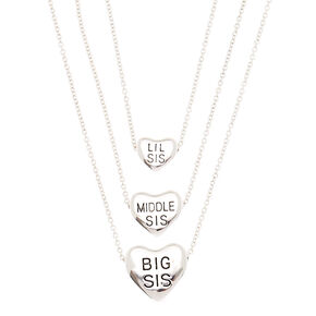 Pendant necklaces claires us best friends silver sister heart pendant necklaces 3 pack aloadofball Image collections