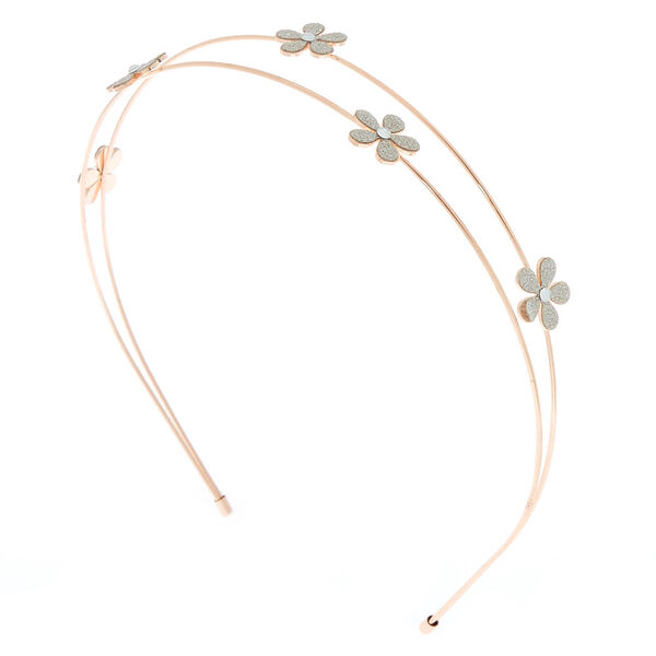 Claire's - rose glitter flower two row headband - 1
