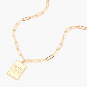 Gold Rectangle Zodiac Symbol Pendant Necklace - Taurus,