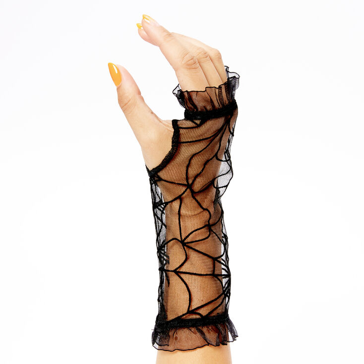 Sheer Spider Arm Warmers - Black,