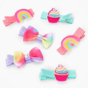 Claire's Club Rainbow Tie-Dye Hair Clips - 6 Pack,