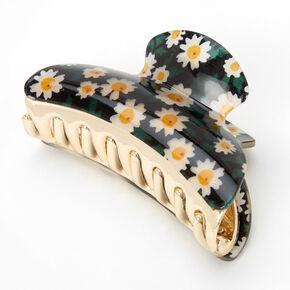 Medium Daisy Floral Hair Claw - Black,