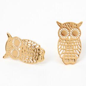Gold Filigree Owl Stud Earrings,