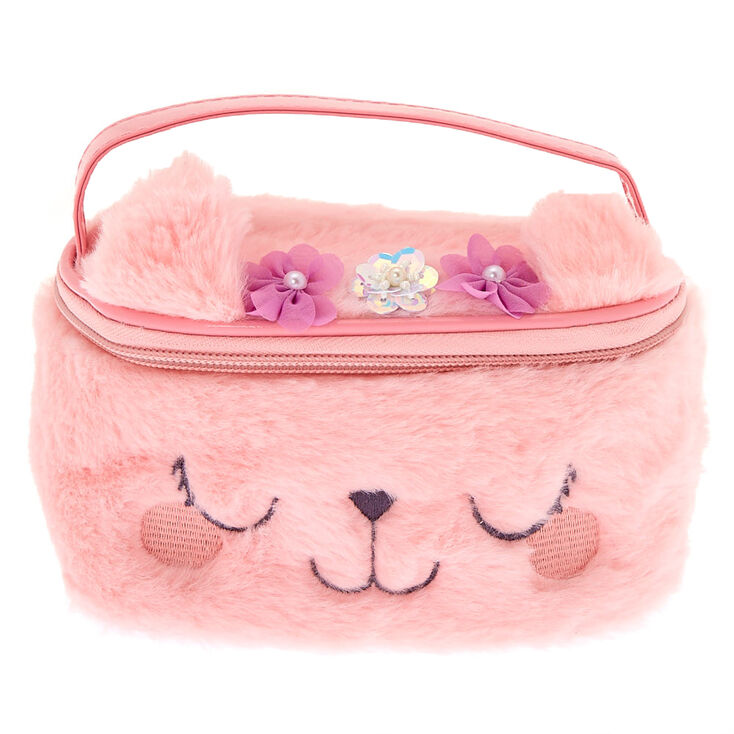 Claire's Club Kitty Flower Makeup Bag - Pink,