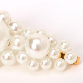 Épingles plates volumineuses avec perles d'imitation - Ivoire, lot de 2,