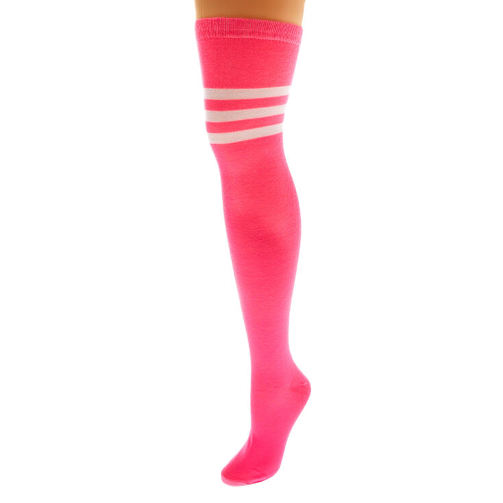 Neon Over The Knee Socks - Pink,
