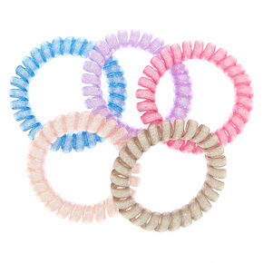 Claire's Club Glitter Spiral Hair Ties - 5 Pack,