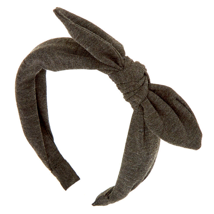 Solid Knotted Bow Headband - Charcoal,