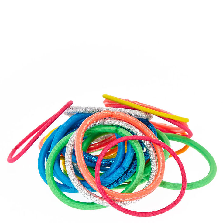 Glitter Rainbow Lurex Hair Ties - 30 Pack,