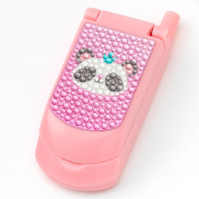 Claire's Club Daisy Panda Bling Flip Phone Lip Gloss Set - Pink,