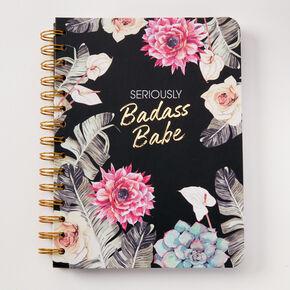 Carnet floral «Seriously Badass Babe» - Noir,