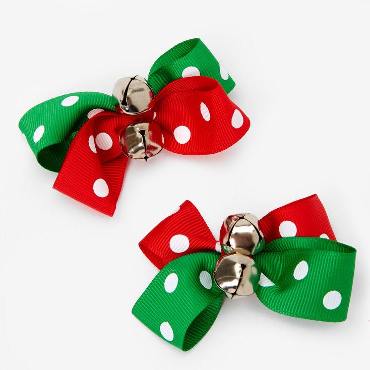 Polka Dot Jingle Bell Hair Bow Clips - 2 Pack,