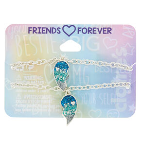 Silver Heart Chain Friendship Bracelets - Blue, 2 Pack,