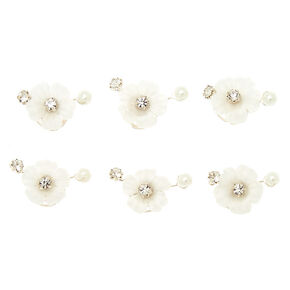 Rhinestone & Pearl Flower Hair Spinners - White,
