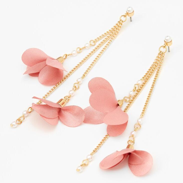 "Gold 3.5"" Floral Pearl Linear Drop Earrings - Blush,"