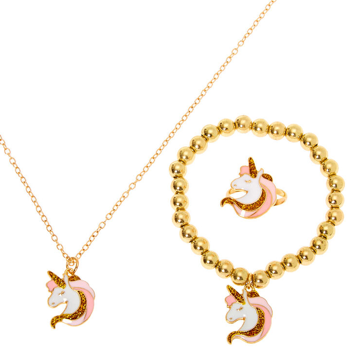Claire's Club Gold Unicorn Jewellery Set - 3 Pack,