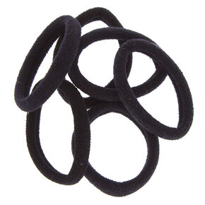 Solid Rolled Hair Ties - Black, 6 Pack,