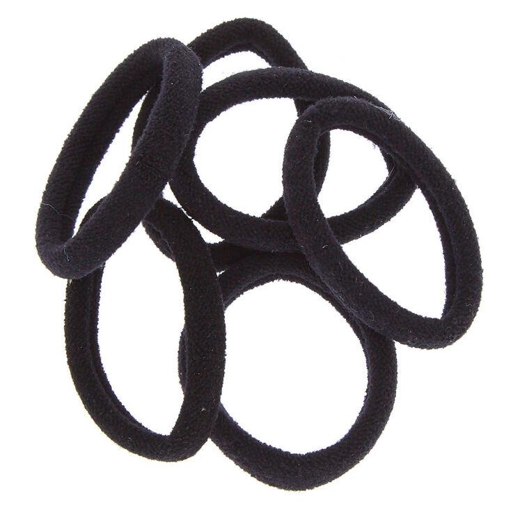 Solid Rolled Hair Ties - Black, 6 Pack,