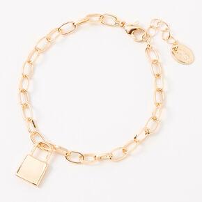 Gold Padlock Charm Chain Link Bracelet,