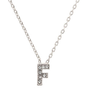 Silver Embellished Initial Pendant Necklace - F,
