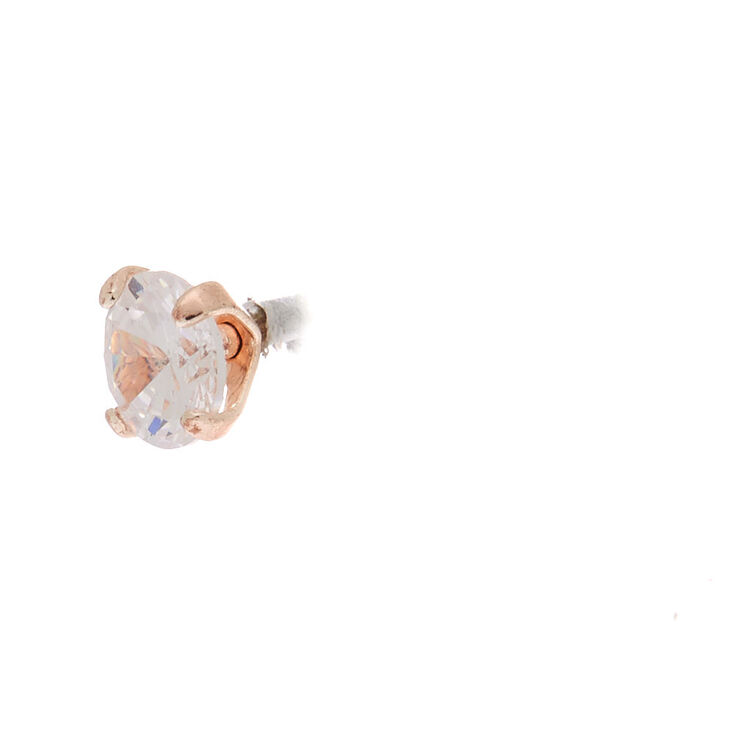 Rose Gold Cubic Zirconia 5MM Round Stud Earrings,