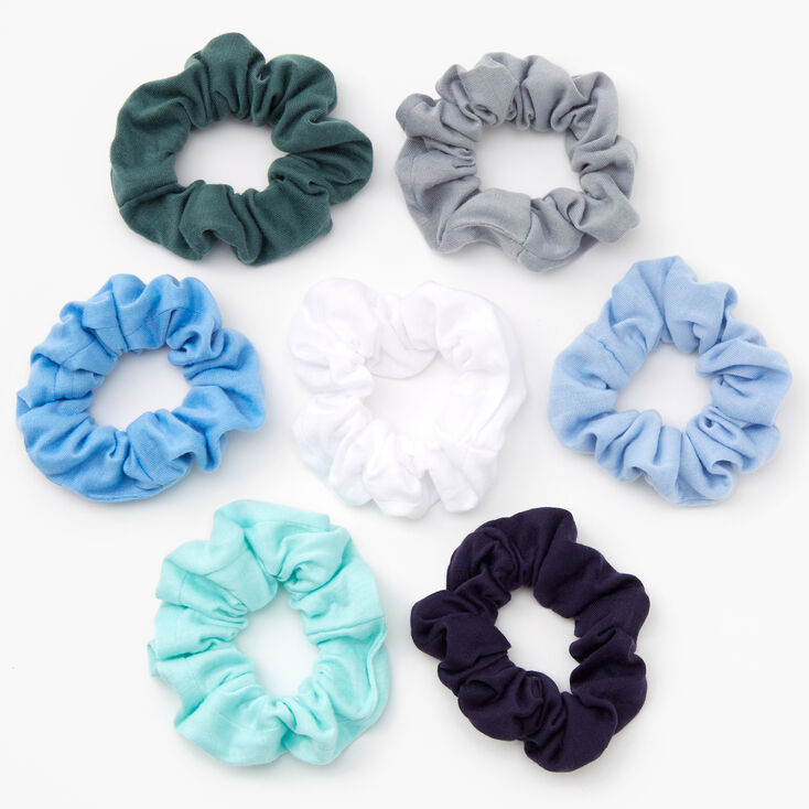 Shades of Blue & Green Solid Hair Scrunchies - 7 Pack,
