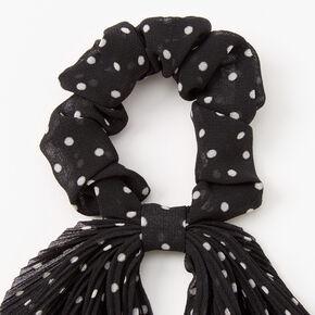 Chouchou foulard à pois plissé - Noir,