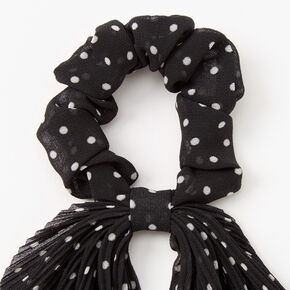 Pleated Polka Dot Hair Scrunchie Scarf - Black,