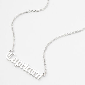 Silver Gothic Zodiac Pendant Necklace - Capricorn,