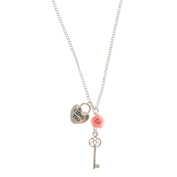 Silver key cluster pendant necklace claires silver key cluster pendant necklace aloadofball Image collections