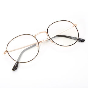 Black Outlined Round Clear Lens Frames - Gold,