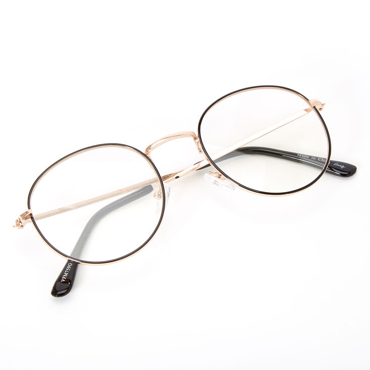 Black Outlined Round Clear Lens Frames - Gold,