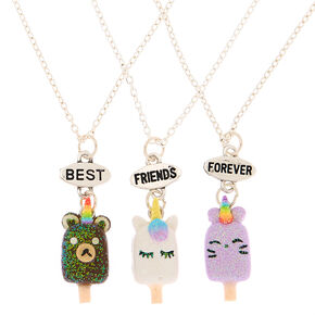 Best Friends Unicorn Popsicle Pendant Necklaces - 3 Pack,
