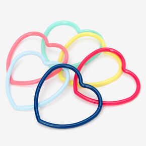 Claire's Club Rainbow Hearts Bangle Bracelets - 6 Pack,