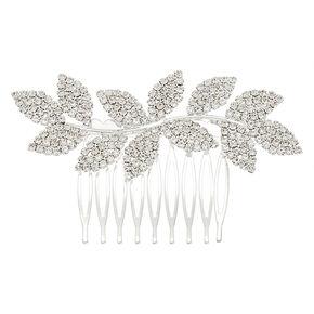 Silver Rhinestone Leaf Hair Comb,